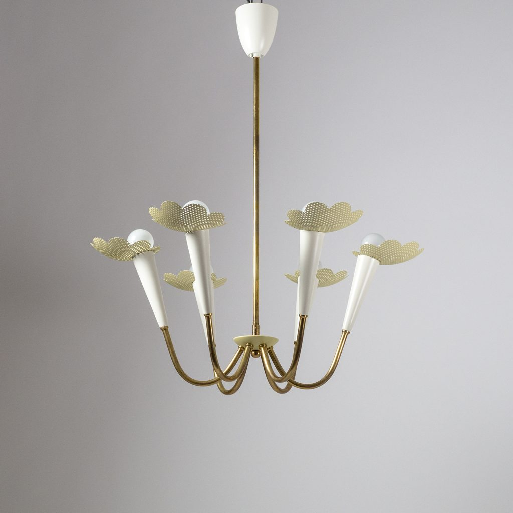 1950s Six Arm Brass Chandelier with Pierced Shades – mdrn